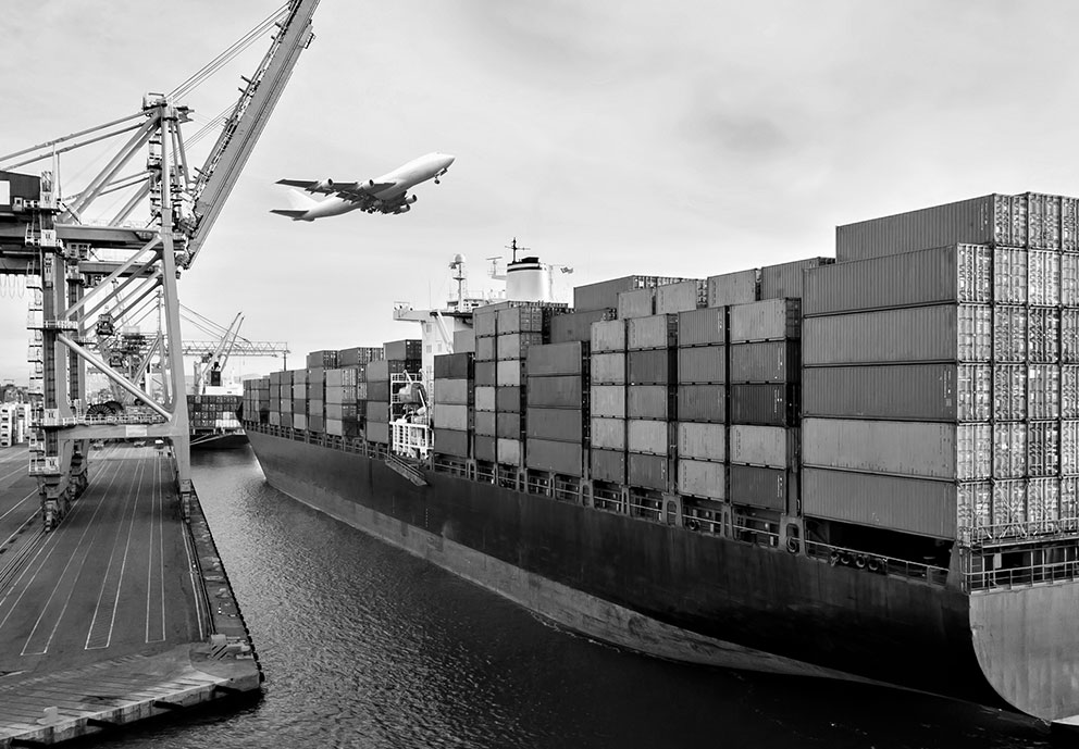Cargo ships in port filled with containers, freight cranes and an airplane flying over.